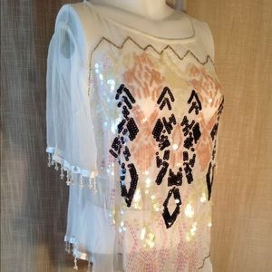 FREE PEOPLE CREME SHEER BEADED/SEQUINS TOP S/S